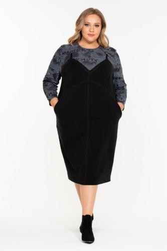 """Платье """"Бьюти"""" (ОК19-059) серо-черный (Терра, Москва) — размеры 60-62, 64-66"""
